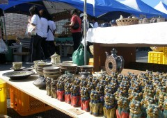 Shisa of all shape and size, plates, bowls and sake vessels comprise the bulk of merchandize at Yomitan Yachimun Pottery Fair this weekend.