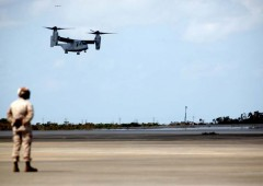 The first six MV-22B Osprey aircraft landed at MCAS Futenma before noon on Monday. (U.S. Marine Corps photo by Lance Cpl. Erik S. Brooks Jr.)