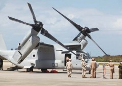 Six MV-22 Osprey aircraft arrived at Futenma on Monday,  followed by three more on Tuesday, Altogether 12 are scheduled to be deployed. (U.S. Marine Corps photo by Lance Cpl. Mike Granahan)