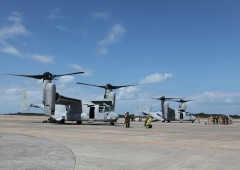 The first full squadron of 12 MV-22 Ospreys are now all in Okinawa, and have started conducting training operations in the area. (USMC. photo by Lance Cpl. Mike Granahan)