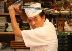 Yoshi Maekawa takes his trademark posture with his samurai sword.