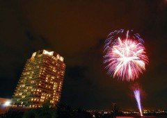 The Beach Tower in Mihama celebrates its 8th anniversary on New Year Eve with Fireworks.