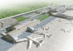 Artist&#039;s image of the new Naha International Airport Terminal currently under construction.