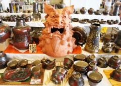 Every pottery maker in Okinawa is proud to create his original Shisa, no matter that it's laborous and time consuming work.