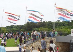 Koinobori fly in Peace Memorial Park in Mabuni, Itoman.