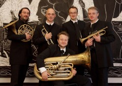 Brass quintet members Benoit de Barsony, horn, Frederic Mellardi, trumpet, Guillaume Cottet-Dumoulin, trombone, Stephane Gourvat, trumpet, and Stephane Labeyrie, tuba.