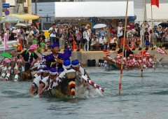 Itoman Haarii dragon boat races take place Wednesday, May 4 of the lunar calendar, at Itoman Fishing Port.