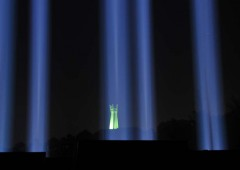"WWII era search lights are used to create ""Pillars or Peace"" at the Mabuni ceremony on June 22 and 23."