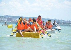Raft races and all kinds of water and beach fun fill both days of weekend's Chatan Seaport Carnival.
