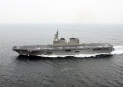 Destroyer Hyuga became the first Japanese MSDF ship that a U.S. military aircraft has landed on.