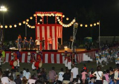 Much of the JSDF Summer Festival centers around an outdoor stage erected on Naha Air Base.