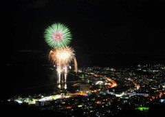 Nago Summer Festival ends with fireworks on both days that can be enjoyed from anywhere along Nago's coastline.