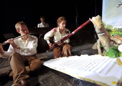 """Music is and essential part of many of the performances like this called """"The Stickman."""""""