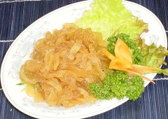 Jellyfish dishes are quite common on the menus of local seafood restaurants.