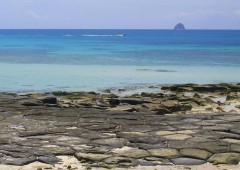 A beach with naturally formed flat stones called Tatami-ishi is one of the best known spots on Kume Island.