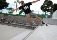 Skateboarder Jack Heckerman getting radical at Gushikawa Skate Park in Uruma City.