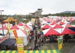 A large outdoor festival area features pottery, farm produce, awamori and, of course, a number of food and drink stands.