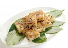 Radish rice cake brings good luck in the New Year.