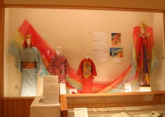 The exhibition showcases masks, costumes and pictures of Kumiodori and Noh performances.
