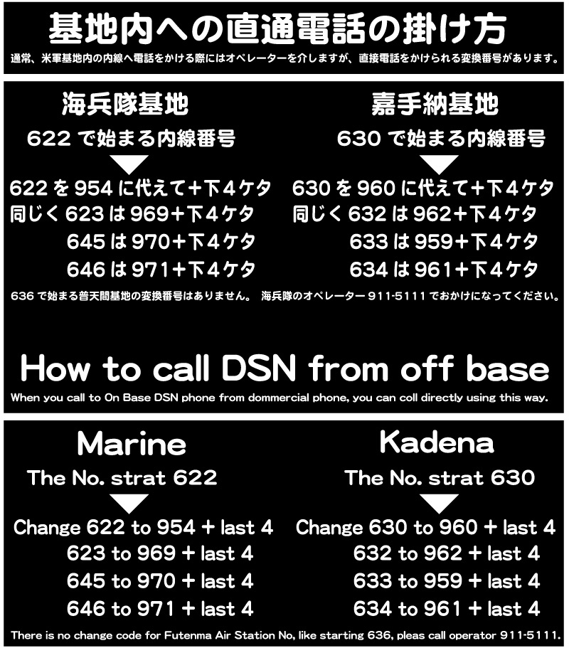 How to call DSN from off base | Japan Update