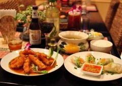 Thai curry, prawns, and spring rolls are among the more than 20 selections on the menu togther with Singha beer and Mekong whisky.
