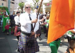 Green and kilts take over the Chuo Park Avenue to the tune of bagpipes Saturday afternoon to celebrate St. Patrick's Day.
