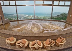 A hot bath with a gorgeous view over Yonabaru and Nakagusuku Bay.