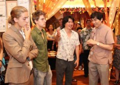 Actor Shin Koyamada and brothers Dylan and Cole Sprouse attending a party.
