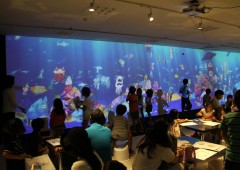 At Sketch Aquarium children draw sea creatures that are then transferred to a giant virtual aquarium where they are brought to life.