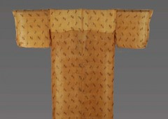 A genuine fine bashofu kimono dating back to late 19th century from Ogimi Village is for sale at an antiques dealer.