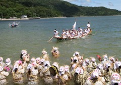 "Ogimi Village's most famous event is its annual ""Ungami"" or praying for the safety of its fishermen and good catches that includes a dance on the beach that women only participate in, followed by a haarii dragon boat races, during which the women wade waist deep into the ocean to cheer the competing teams."