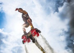 Japan Flyboarding Championships take place in Nishihara, Sunday, where those who have mastered the the newest water sport try to outdo each other and awe the spectators.