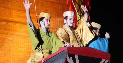 The homecoming of a Shinkousen trading ship is enacted on Sunday afternoon.