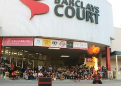 "The Street Performance Festival's main venue is the Barclay""s Court shopping center in Urasoe nest the the US. consulate."