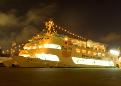Moby Dick can carry over 300 guests per trip to enjoy sunset, view of Naha by night and a gourmet dinner.