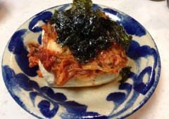 Shimadofu with kimchi makes a nice snack or appetizer.