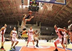 Okinawan men can jump, as Ryuichi Kishimoto here shows. Kishimoto scored 10 points  on Saturday.