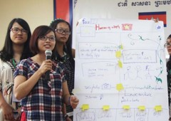 Students from Vietnam present their findings at the first ever International Youth Camp on Youth Empowerment for Transparency and Integrity (YETI) in Siem Reap, the land of the temples of Angkor, Cambodia.