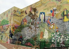 The 180-meter-long wall painting depicts area history.