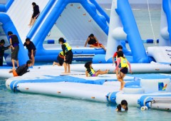 Manza Beach Ocean Park is a floating playgound for kids and adults alike.