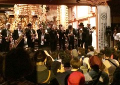 Okinawa Jazz Guild Orchestra performing in a shrine.