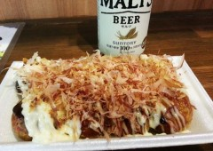 Mayonnaise is as essential on Oksaka Takoyaki balls as are the tuna flakes.