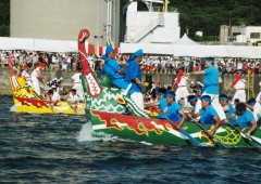 Naha Haarii Dragon Boat racers take their annual event seriously with may teams practicing the whole year for the big event.