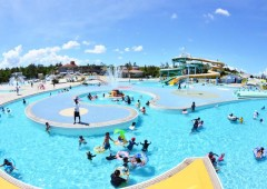 Okinawa Comprehensive Park has a large flowing pool and water slides among other leisure and sports related facilities.