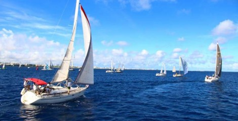 Participating yachts start off Ginowan Marina in two groups at 8:30 and 9 a.m.