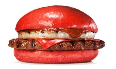 Red burgers go on sale in Japan on July 3.