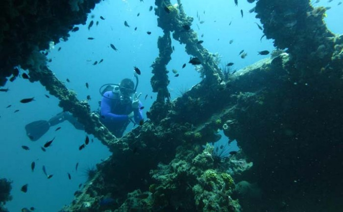 Tim Goulah in his element: Poking around in a shipwreck.