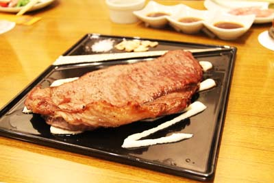 A jumbo-size Wagyu steak can be shared by groups of four.