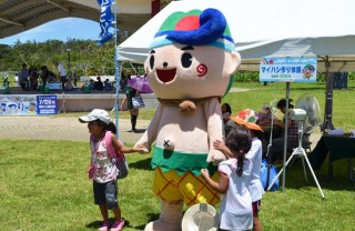 Ginoza Village mascot Giino-kun will be ready to pose with kids and entertain.