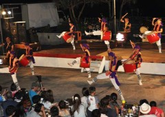 Zamami youth show their prowess in Eisa during the festival.